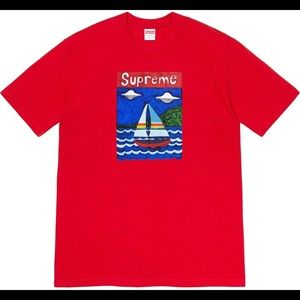 SS20 Supreme Sail Boat Red Tee Size M